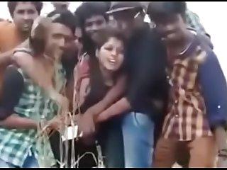 girl increased by boys in public